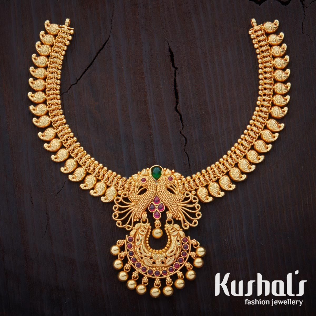 south indian traditional silver temple jewellery peacock design necklace studded with spinal