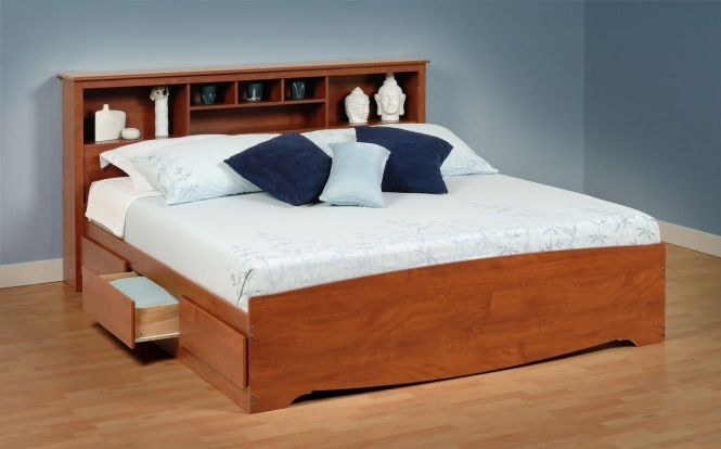 Platform Beds With Storage Drawers Cherry King Size Bed Six And