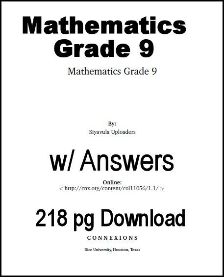 9th Grade Math Textbook (download) @ http://www