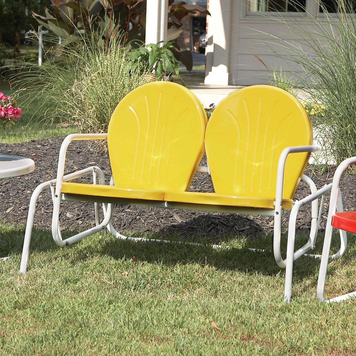 Retro Lawn Chairs Vintage Metal Chairs Outdoor Retro Metal Glider Lawn