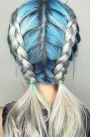 blue braided dyed hair color