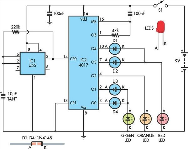 Traffic Lights For Model Cars Or Model Railways Circuit Schematic