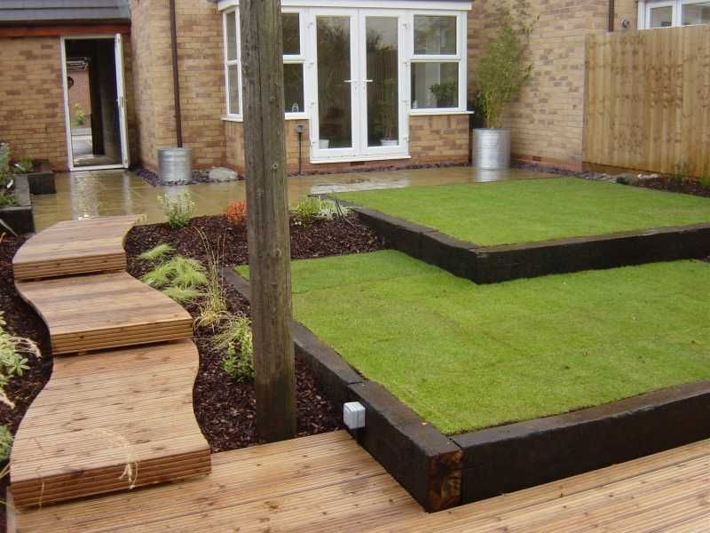 Reclaimed Railway Sleepers; 2 Level Lawn Almost Outdoors