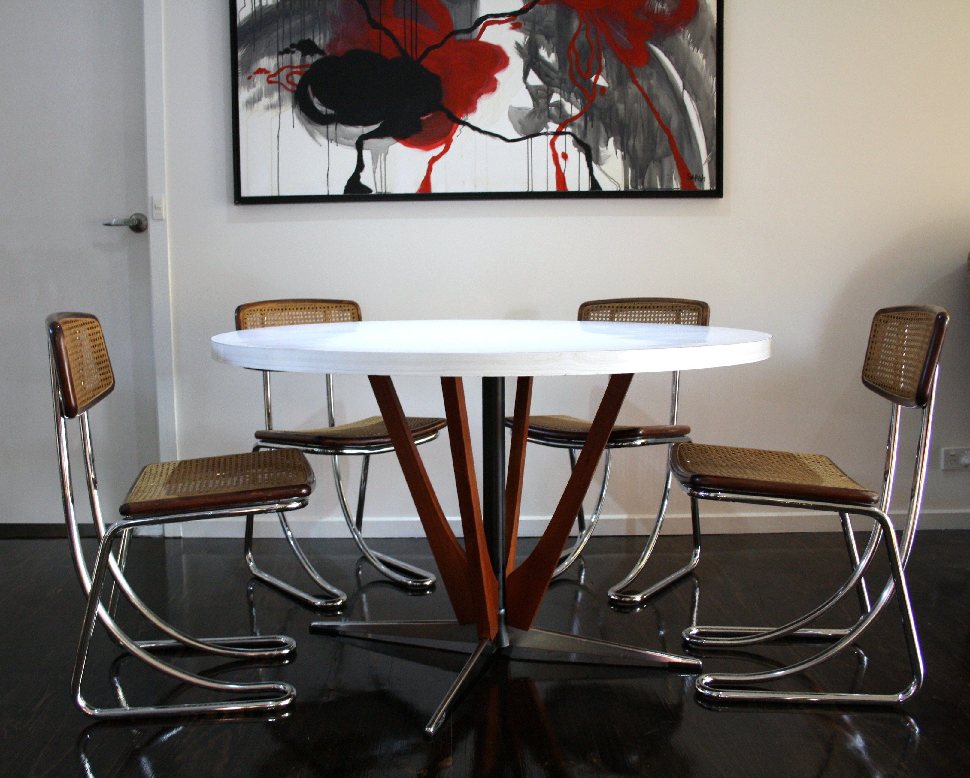 chrome dining chairs australia chair upholstered mid century teak and laminex table cane