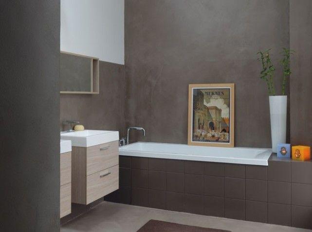 Salle de bain noir et taupe couleur gris peinture clair for Salle de bain couleur taupe