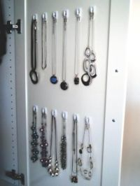 A tangle-free way to hang necklaces! Attach 3M Adhesive ...