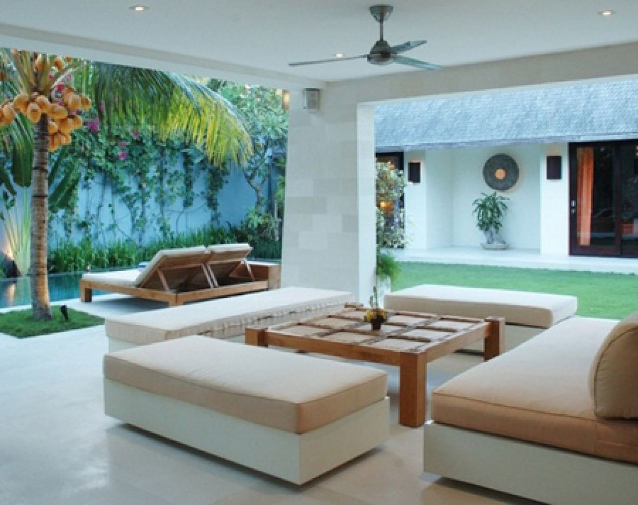 Tropical Interior House With Lounge Sofa White And Beige Color