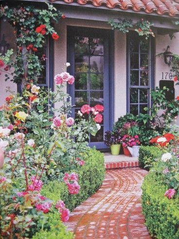 Front Porch Design For A Small Garden Climbing Blaze Rose