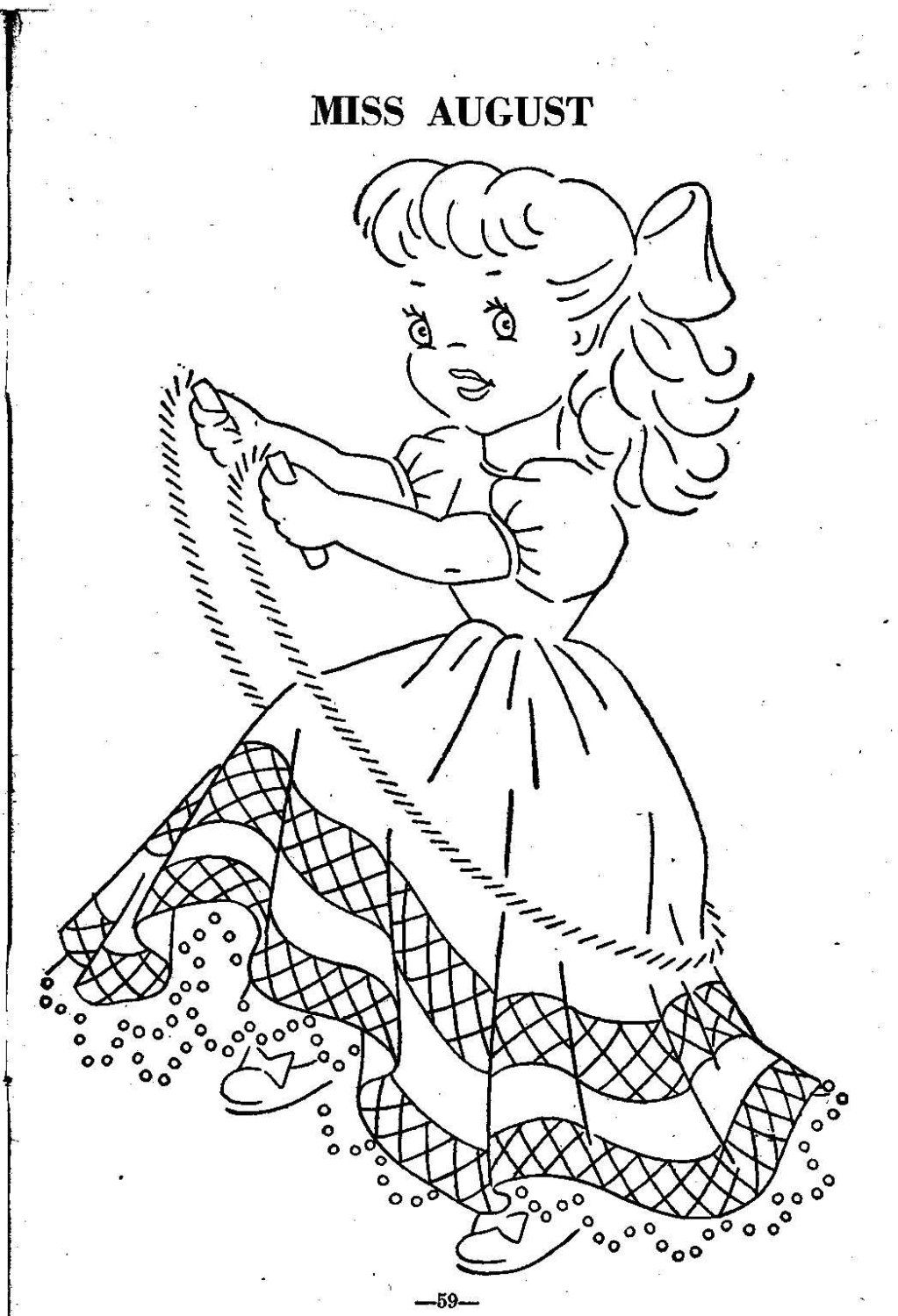 Hand Embroidery Quilt PATTERN 12 Dolls of the month taken
