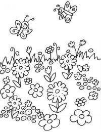 Blumen: Kostenlose Malvorlage: Schmetterlinge auf der ...