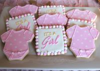 Pink and white baby shower cookies -- SomersetCakes.com ...