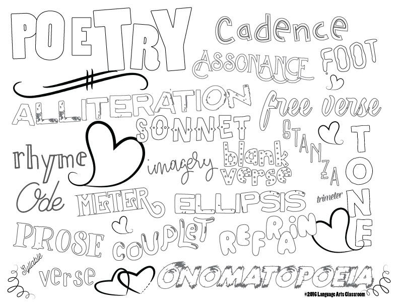 Poetry coloring sheet for literary devices. (With images