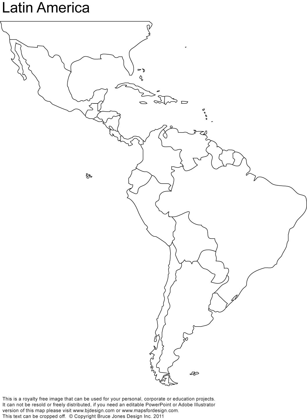 Free Blank Map Of North And South America