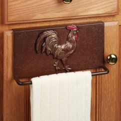 Kitchen Towel Racks Stainless Island Rooster Slip Over Bar Rustic Brown For The Home