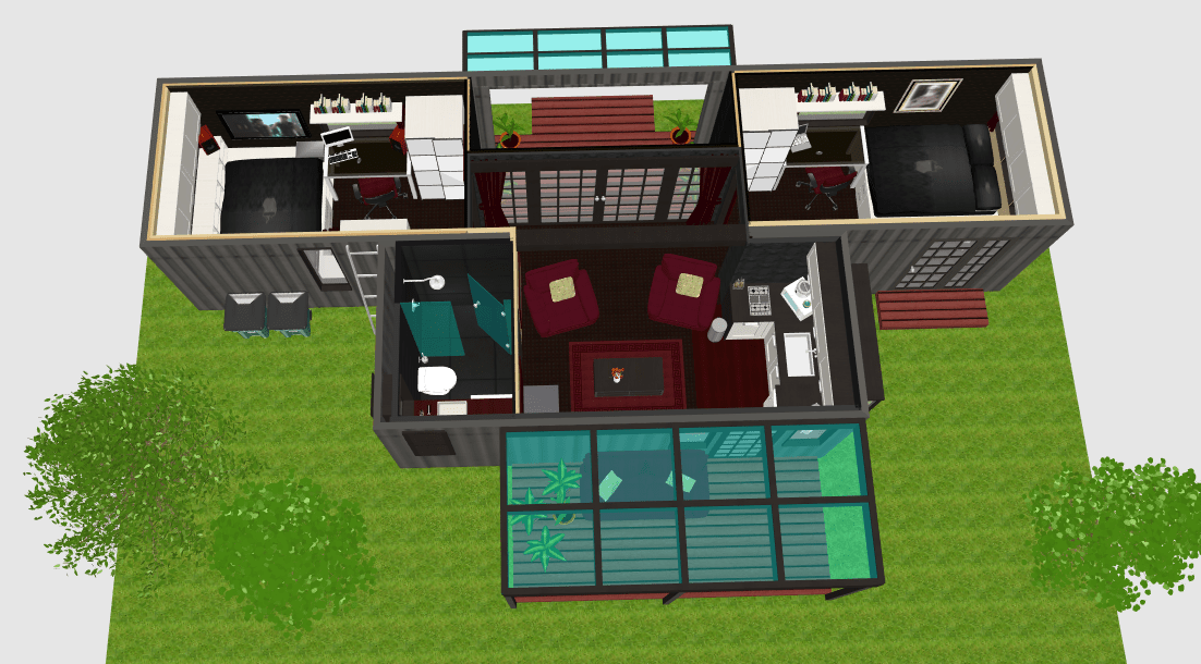 2 bedroom home from 20ft  40ft shipping containers