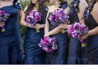 purple bouquets, navy bridesmaid dresses   Orange Cat ...