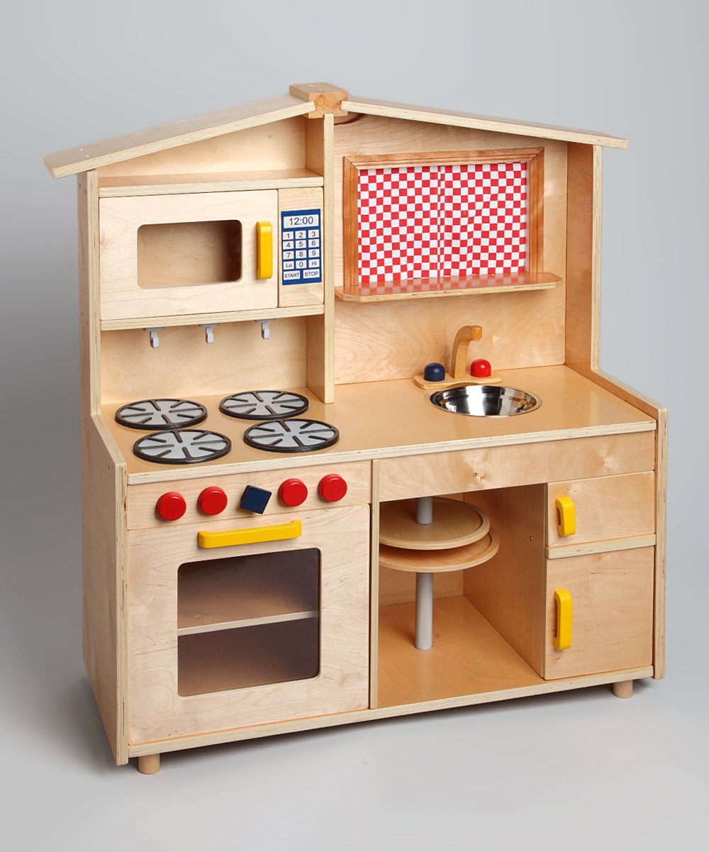 Custom Wood Deluxe Play Kitchen  love the lazy susan