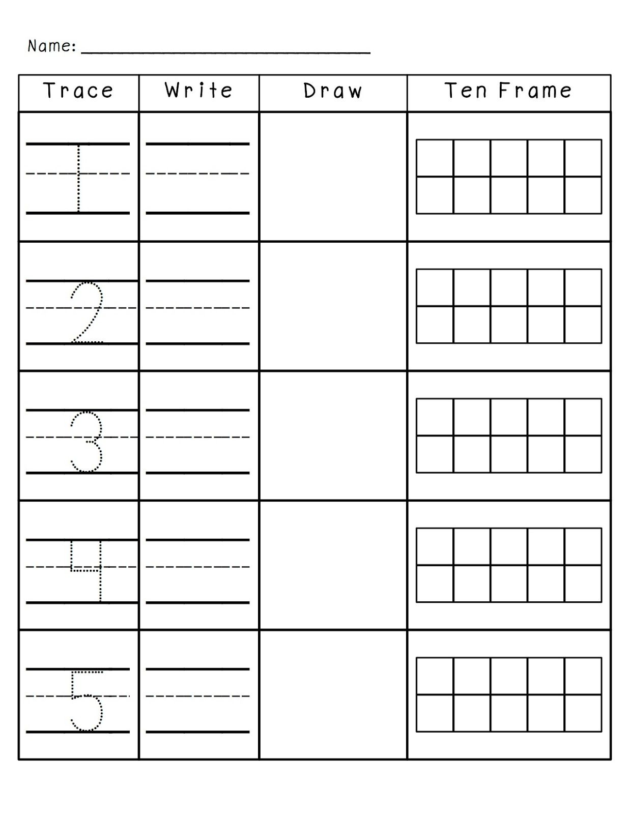 Number Practice 1 10 Trace Write Draw Fill In Ten