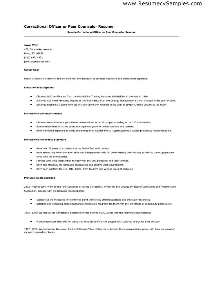 Correctional Officer Resume Examples - Examples of Resumes - prison social worker sample resume