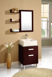 Simple Dark Wood Bathroom Mirrors With Shelves And Small