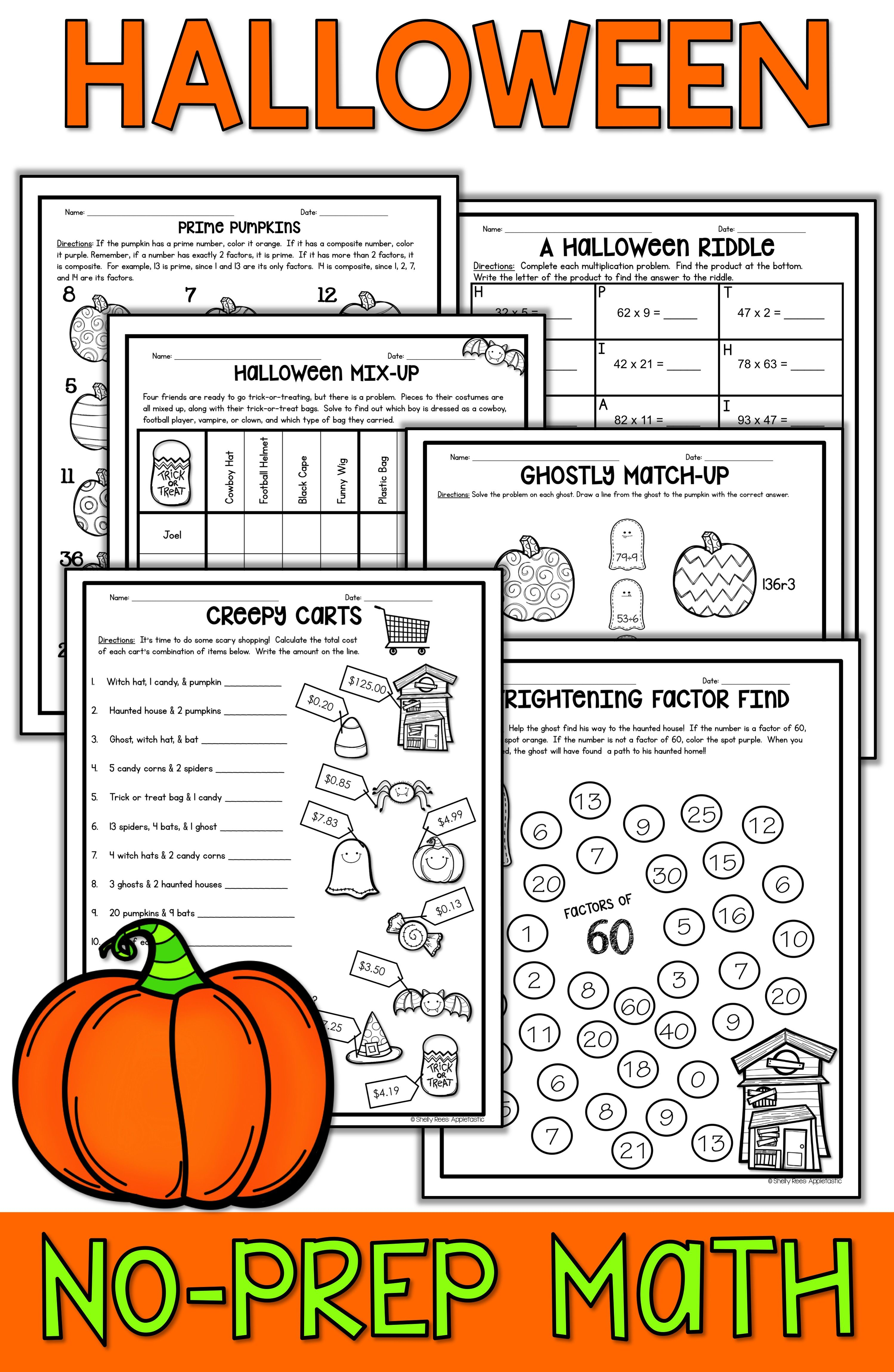 Halloween Math Packet No Prep Halloween Activities