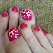 summer flower nail art toes