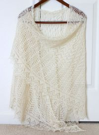 Wedding shawl - lace knit wedding shawl in cream color ...