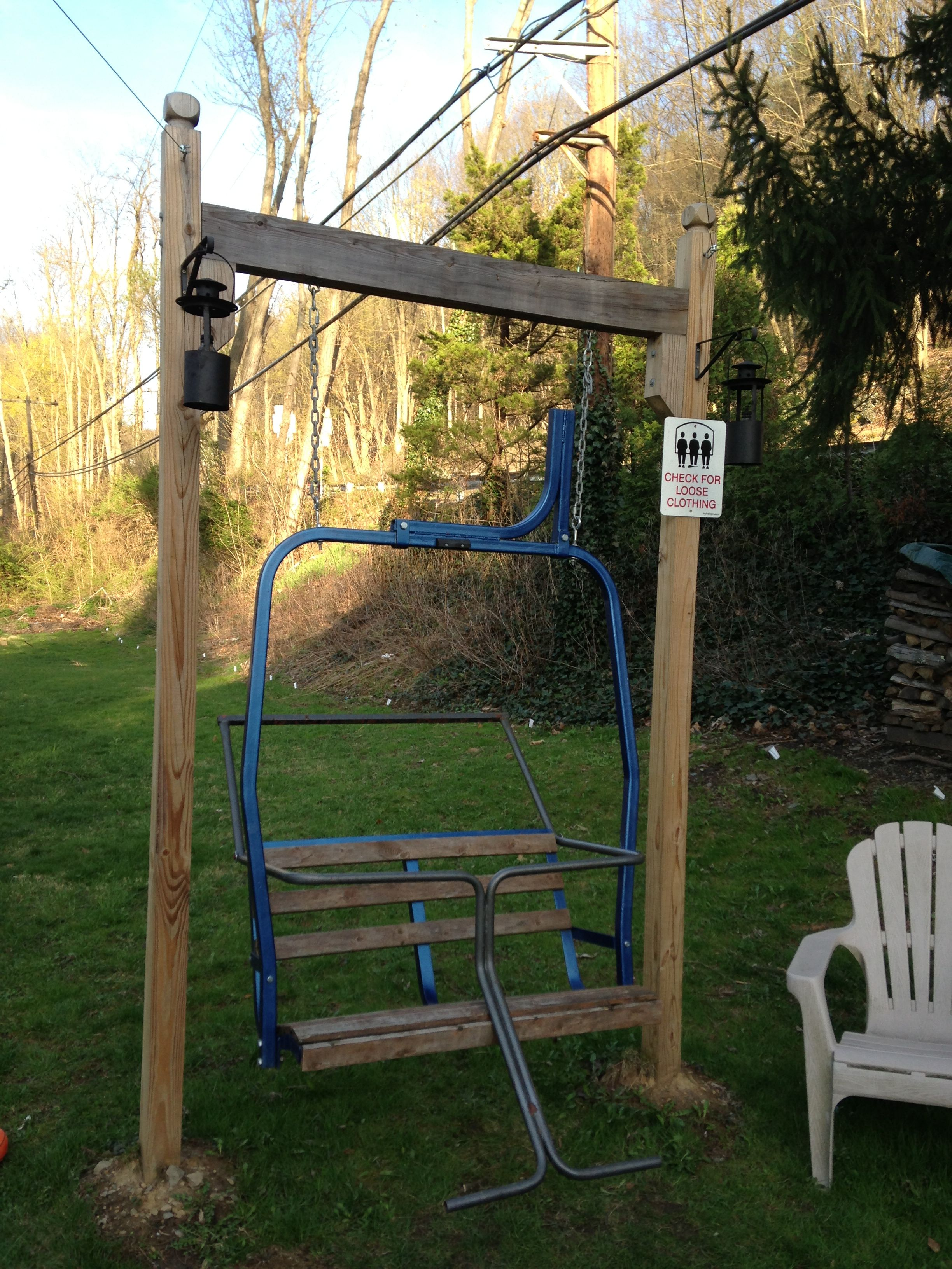 swing chair local rent tables and chairs for wedding ski lift using an old double frame from
