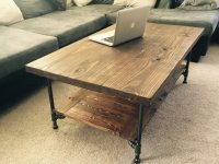 Large Industrial Rustic Wood Pipe Coffee Table by ...