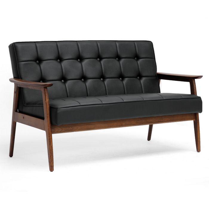 modern mid century sofa leather