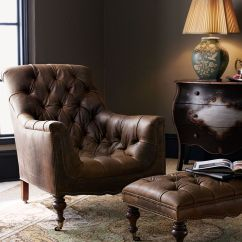 Sean Brown Sofa Table Boconcept Sale Old Hickory Tannery Tufted Leather Chair & Ottoman | Home ...