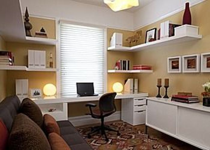 Modern home office facing the window also design ideas