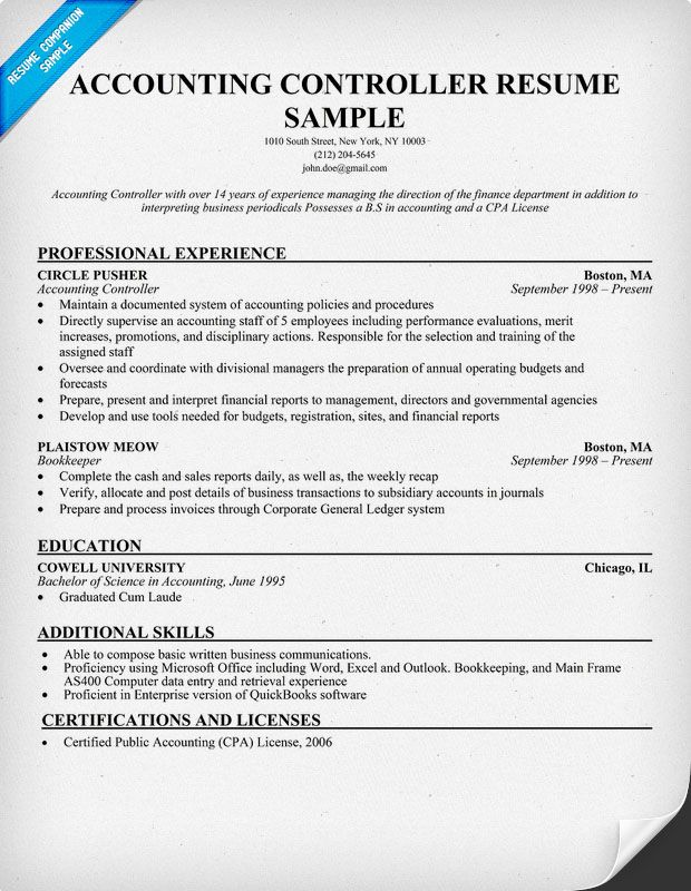 Accounting Controller Resume Resumecompanion Com Resume