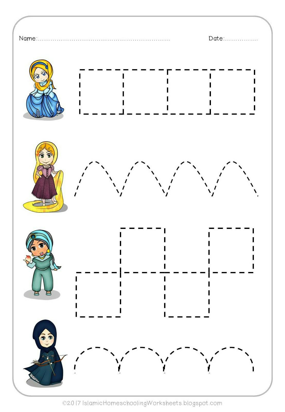 Free Prewriting Practice In Disney Princess Preschool Pack