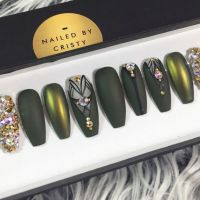 Matte Olive Green and Duochrome Press On Nails by ...