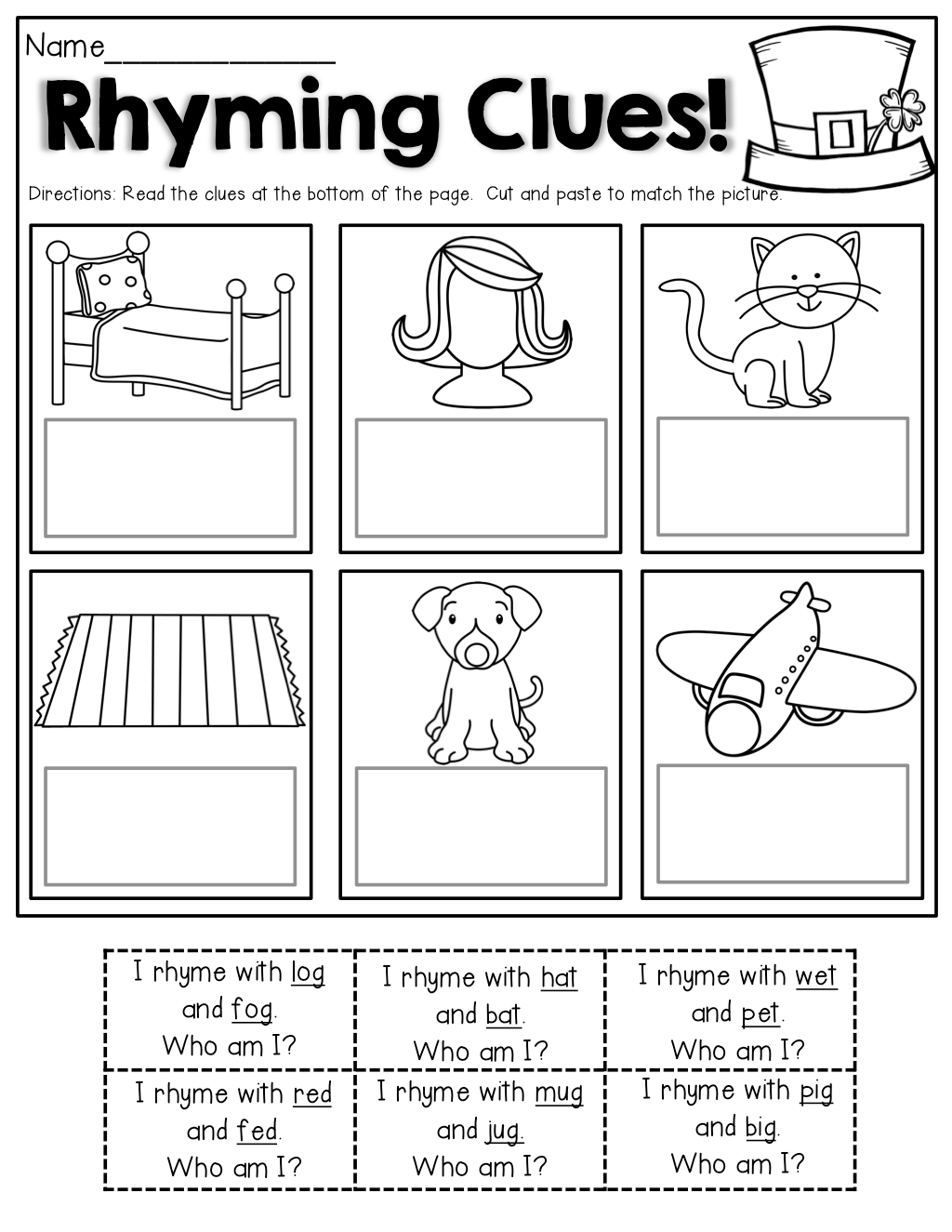 Rhyming Clues Read The Simple Sentences Clues And Cut And Paste To Match The Picture Perfect