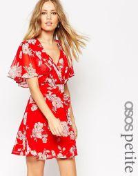 Image 1 of ASOS PETITE Kimono Flippy Dress in Red Floral ...