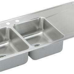 Double Kitchen Sink With Drainboard Cabinets Stainless Steel
