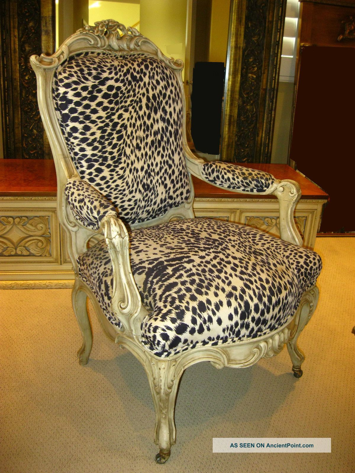 Cheetah Chair French Provincial Hollywood Regency White Leopard Print