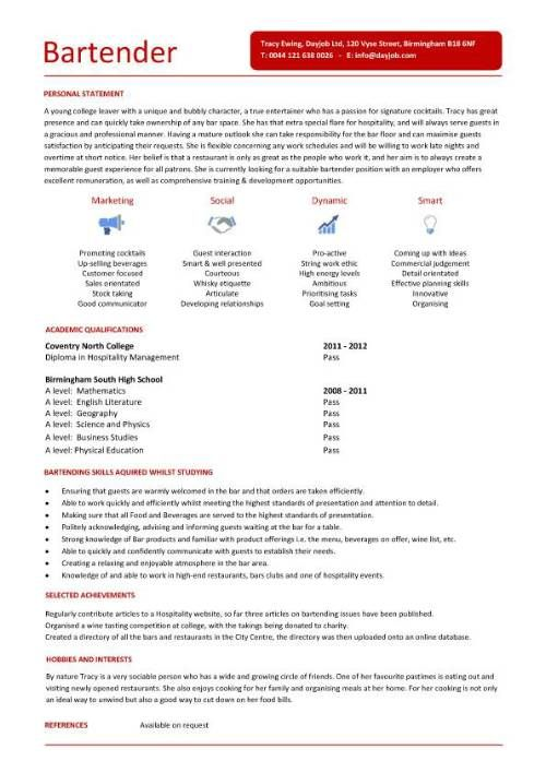bartender resume template jobresumesample 767