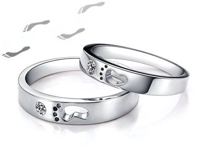 Cheap Foot Print Promise Ring for Young Couples Men and