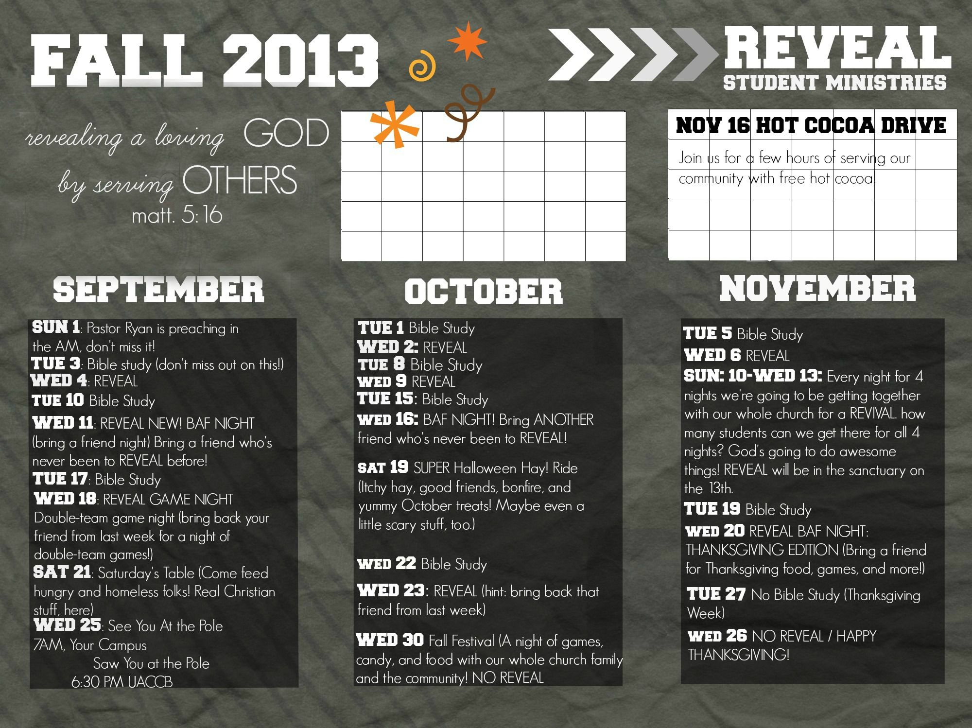 reveal youth group fall calendar possibly send out to the