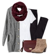 Gray cardigan, burgundy scarf with leggings | Burgundy ...