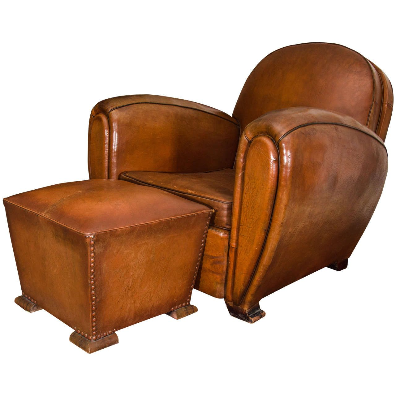 French Round Back Leather Club Chairs  Leather club chairs