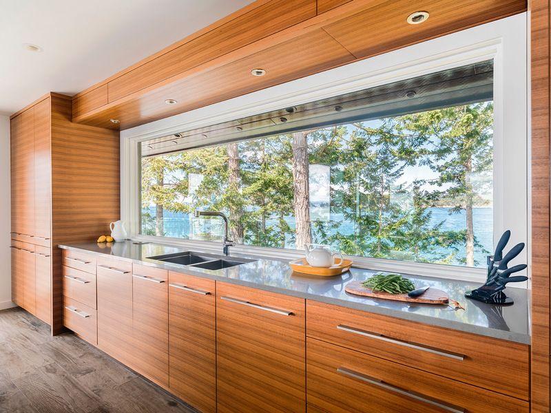 Horizontal grained teak kitchen cabinets for 60's modern