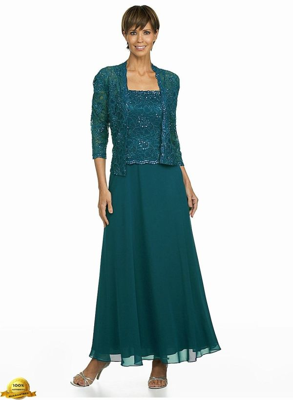 Km Collections Woman Beaded Lace Jacket Dress Size