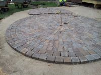 Mid-way through the circular #patio construction using ...