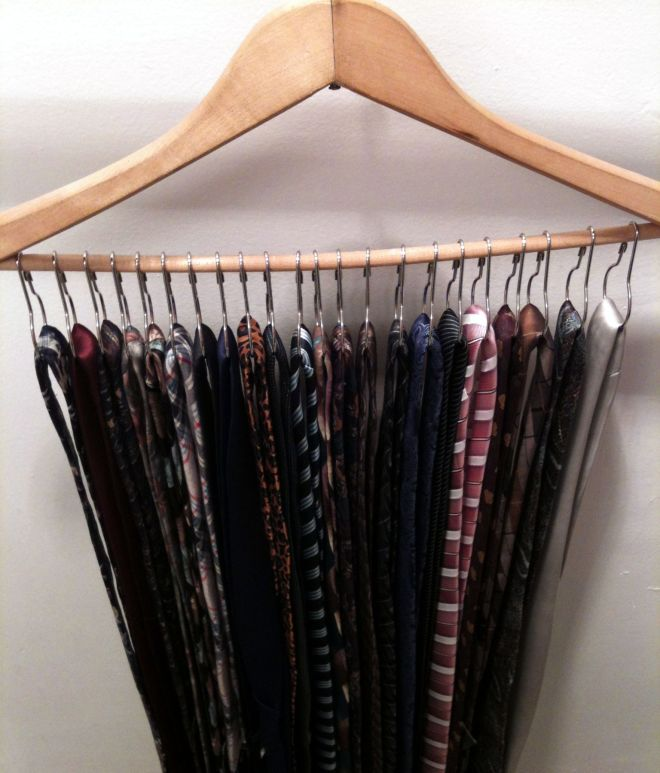 Diy tie organizer hanger shower curtain rings very