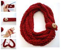 Finger Knit Infinity Scarf   Crochet infinity scarf free ...