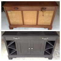 Old record player cabinet transformed into mini bar ...